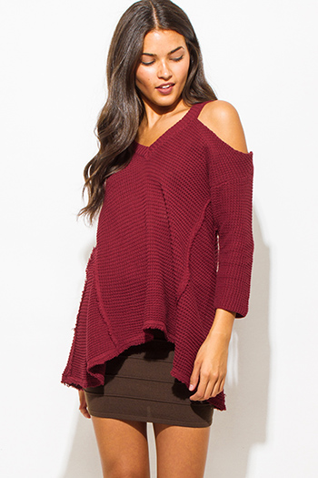 $20 - Cute cheap print cold shoulder blouse - wine burgundy red cold shoulder long sleeve boho waffle knit sweater top