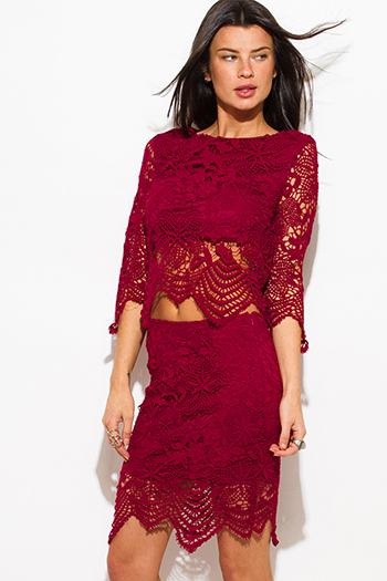 $10 - Cute cheap burgundy red ribbed cut out fitted sexy party crop top - wine burgundy red crochet lace scallop hem fitted cocktail party pencil skirt
