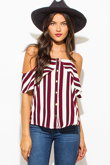$15 - Cute cheap print top - wine burgundy red multicolor stripe print ruffle cold shoulder golden button up boho blouse tank top
