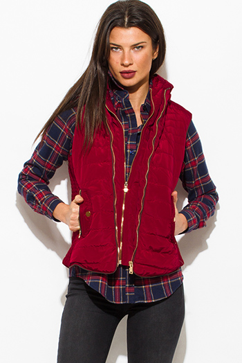 $25 - Cute cheap black zip up banded crop bomber jacket top 1474489539375 - wine burgundy red utilitarian zip up faux fur lined golden button zip up hooded pocketed puffer vest