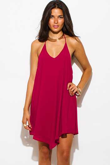 $15 - Cute cheap dress sale - wine red chiffon halter backless asymmetrical hem mini cocktail sexy party dress