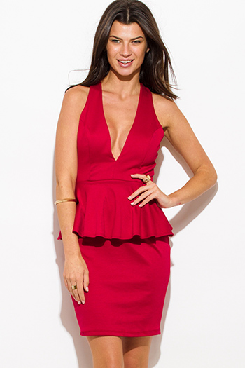 $20 - Cute cheap cocktail dress - wine red deep v neck sleeveless cross back fitted bodycon cocktail sexy party peplum mini dress
