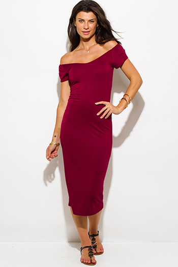 $15 - Cute cheap fitted dress - wine red jersey cap sleeve off shoulder bodycon fitted midi dress