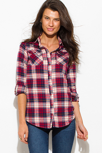 $15 - Cute cheap sheer boho long sleeve blouse - wine red multicolor plaid flannel long sleeve button up blouse top
