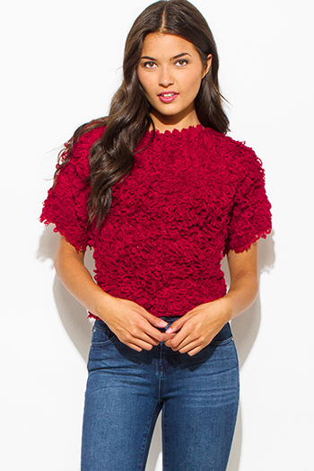 $10 - Cute cheap peppered black cotton blend fuzzy textured boho sweater knit top - wine red textured boat neck wide short sleeve sweater knit crop blouse top