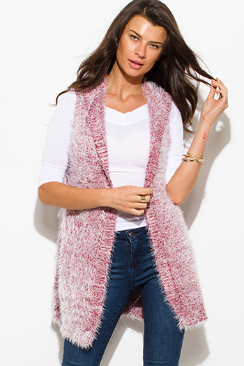 $15 - Cute cheap crochet back red knit sleeveless sweater - wine red textured open front hooded fuzzy sweater knit cardigan vest top
