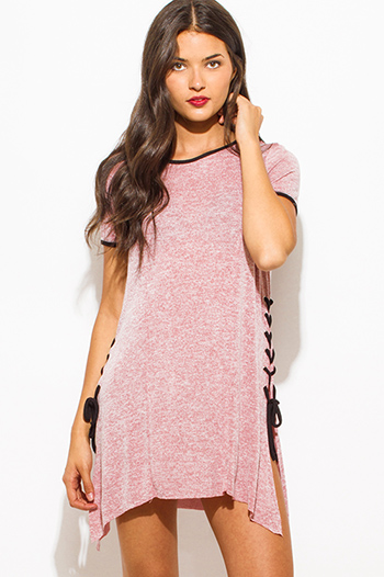 $15 - Cute cheap cotton tunic - wine red two toned cotton blend short sleeve laceup side tunic top mini shirt dress