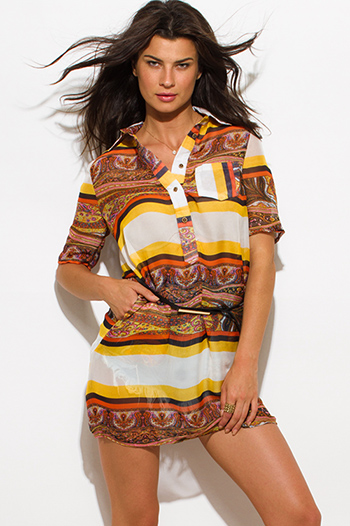 $15 - Cute cheap print cold shoulder blouse - yellow brown multicolor paisley striped abstract print chiffon belted tunic blouse shirt dress
