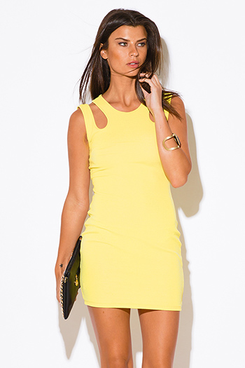 $15 - Cute cheap print fitted party mini dress - yellow cut out cold shoulder sexy clubbing fitted party mini dress