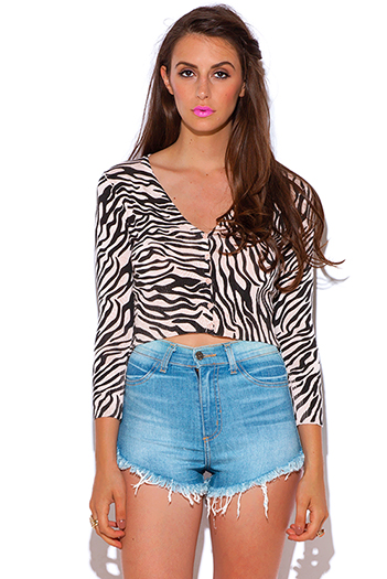$7 - Cute cheap zebra animal print crop sweater cardigan top