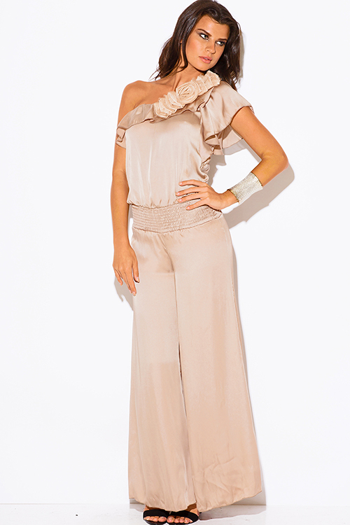 Shop wholesale womens mocha beige one shoulder ruffle rosette wide ...
