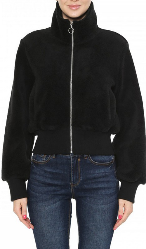 Cute cheap A bomber jacket in a faux sherpa fabrication featuring a high neck