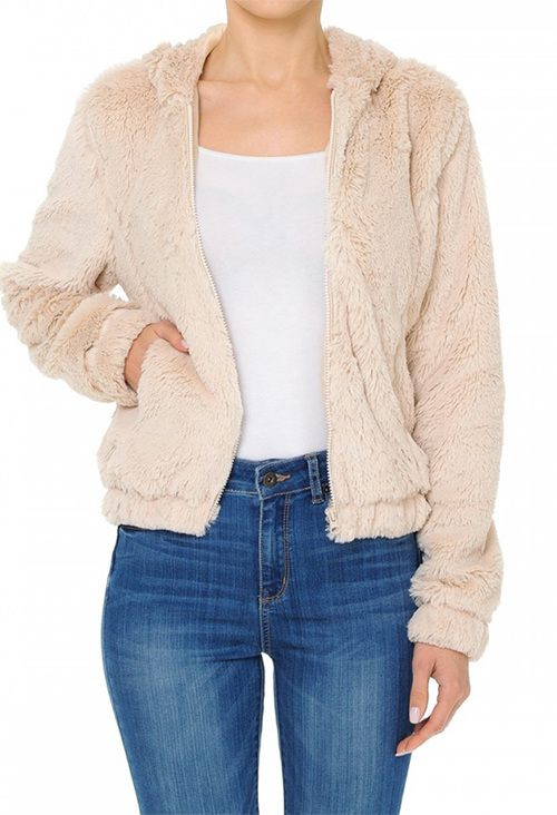 Cute cheap A hooded zip-front bomber jacket in a long pile faux fur fabrication