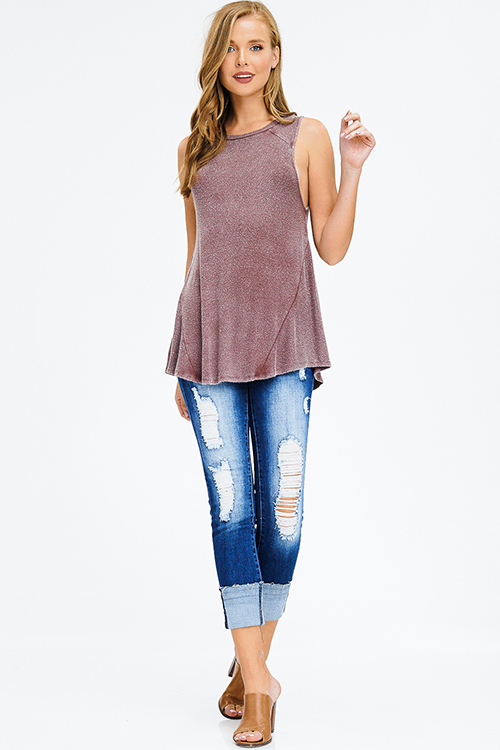 Cute cheap acid washed burgundy red ribbed jersey knit boho tank top
