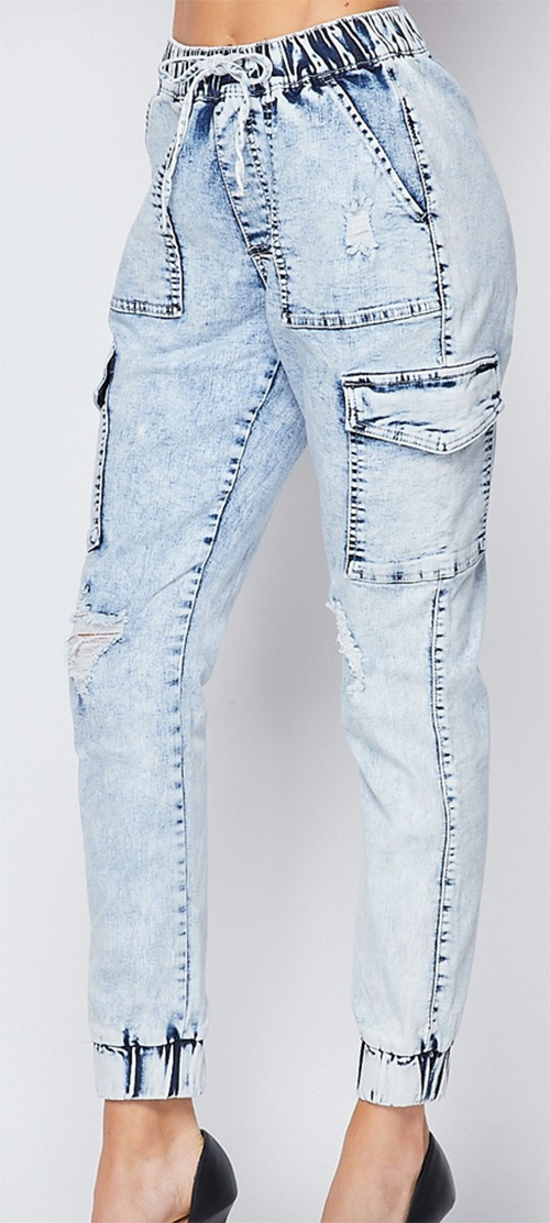 Cute cheap Acid Washed Destructed Cargo Pants