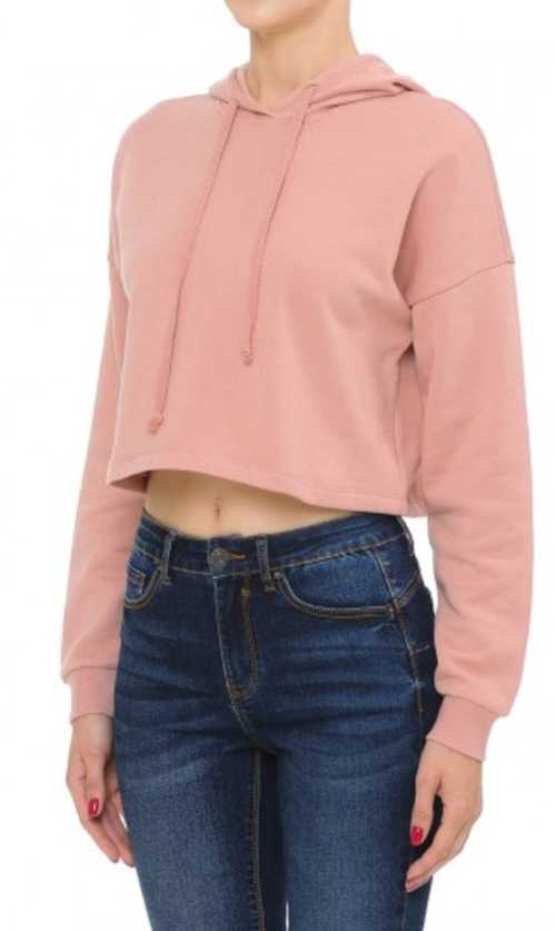 Cute cheap active fleece long sleeve crop hoodie