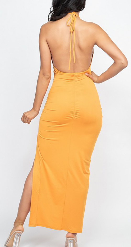 Cute cheap Adjustable ruched side and ruched back detail maxi dress