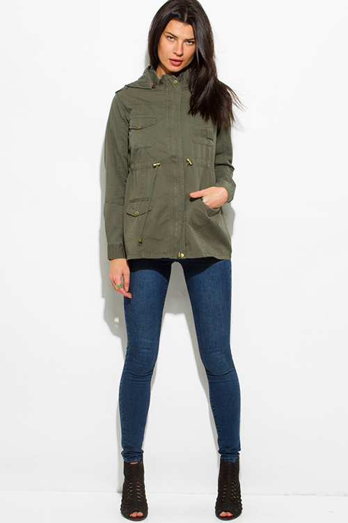 Shop wholesale womens army olive green cotton utility ...
