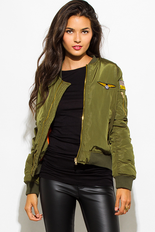 Cute cheap army olive green military zip up pocketed patch embroidered puff bomber jacket
