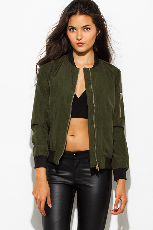 Shop army olive green zip up banded cropped bomber jacket top