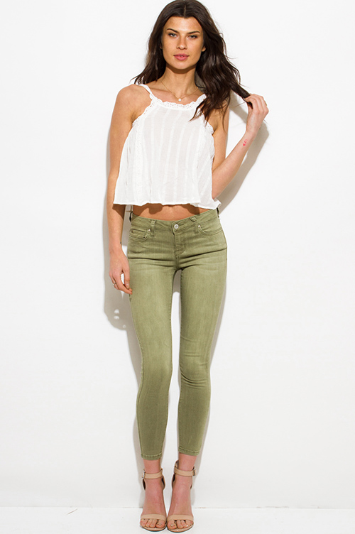 Cute cheap army sage green mid rise skinny fit ankle jeans