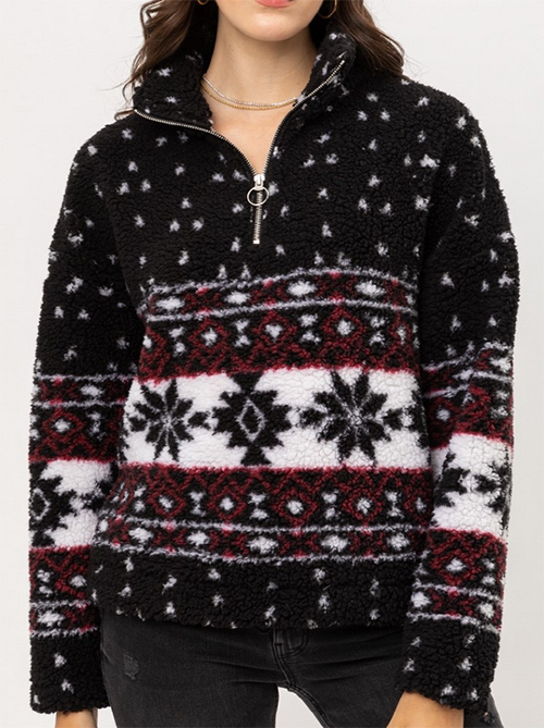 Cute cheap aztec sherpa pullover
