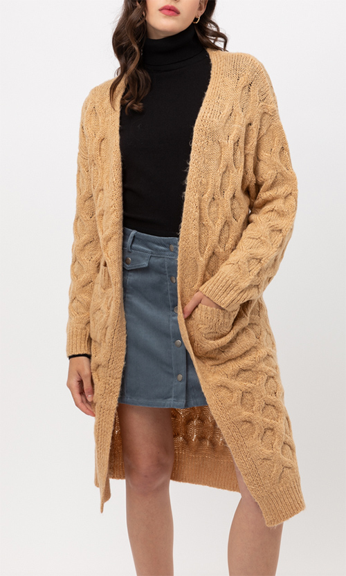 Cute cheap basic bell sleeve knit cardigan
