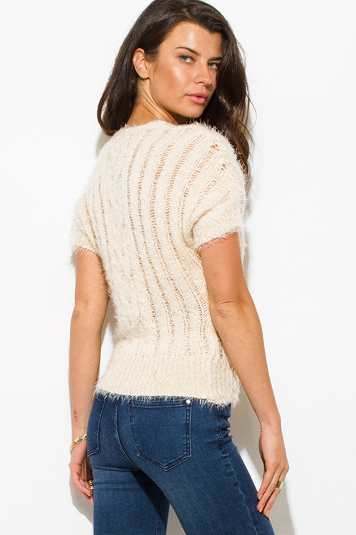 Cute cheap beige fuzzy knit crochet ribbed sweater top