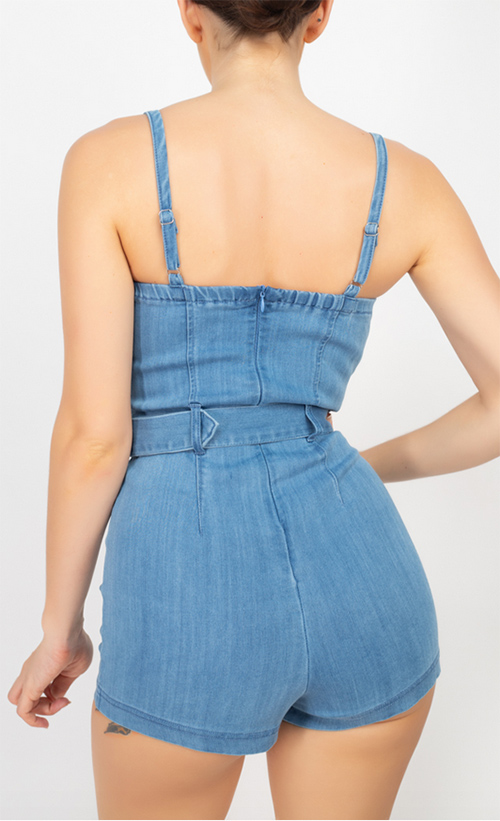 Cute cheap belted denim romper