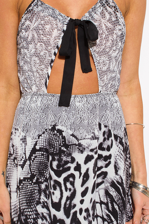 Cute cheap black abstract snake animal print cut out halter cross back maxi sun dress