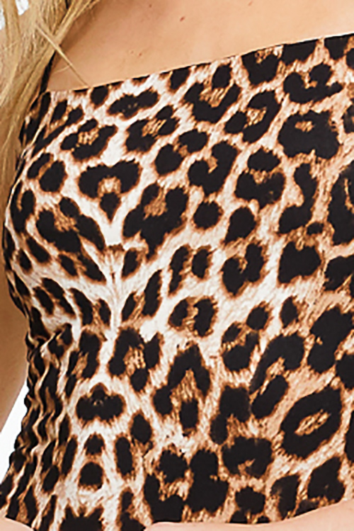 Cute cheap Black and brown cheetah animal print spaghetti strap bodycon fitted club mini dress