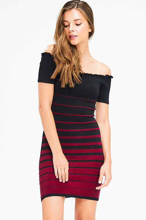 Cute cheap black and burgundy red striped ribbed knit lettuce hem off shoulder bodycon fitted club mini dress