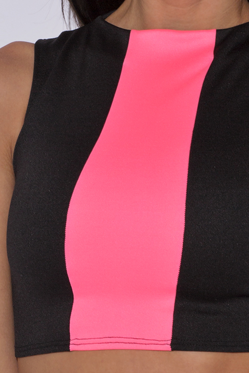 Cute cheap black and neon pink suiting fitted party crop top