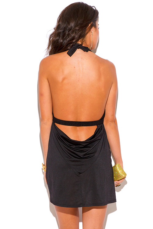 Cute cheap black bejeweled draped backless babydoll halter party mini dress