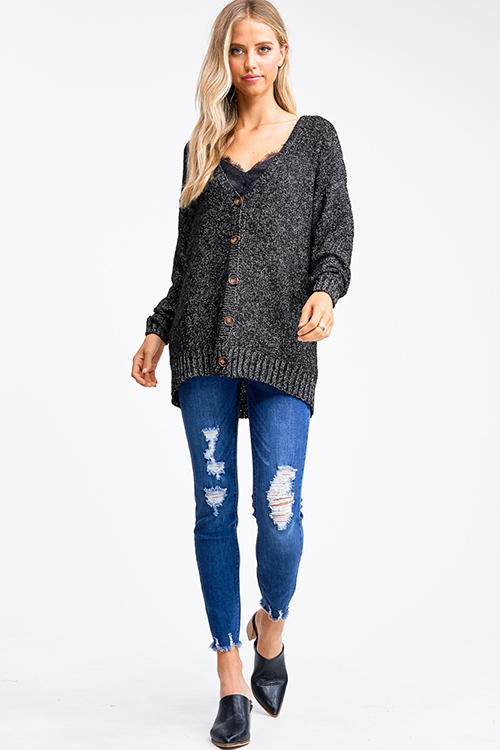 Cute cheap Black boucle sweater knit long sleeve button up boho cardigan top