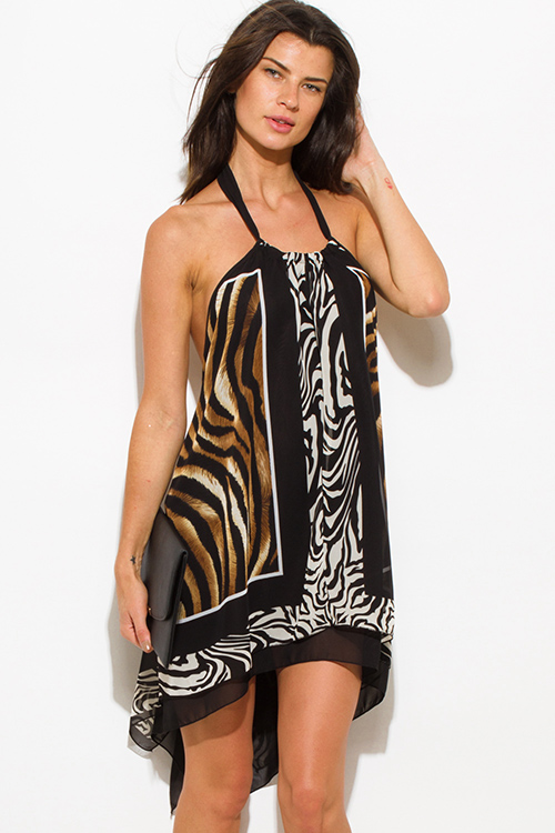 Cute cheap brown abstract animal print high low halter neck backless handkerchief mini sun dress
