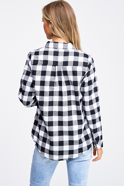 Cute cheap Black buffalo plaid fleece lined long sleeve button up flannel top