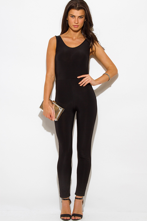 Cute cheap black caged cut out back fitted bodycon clubbing catsuit jumpsuit
