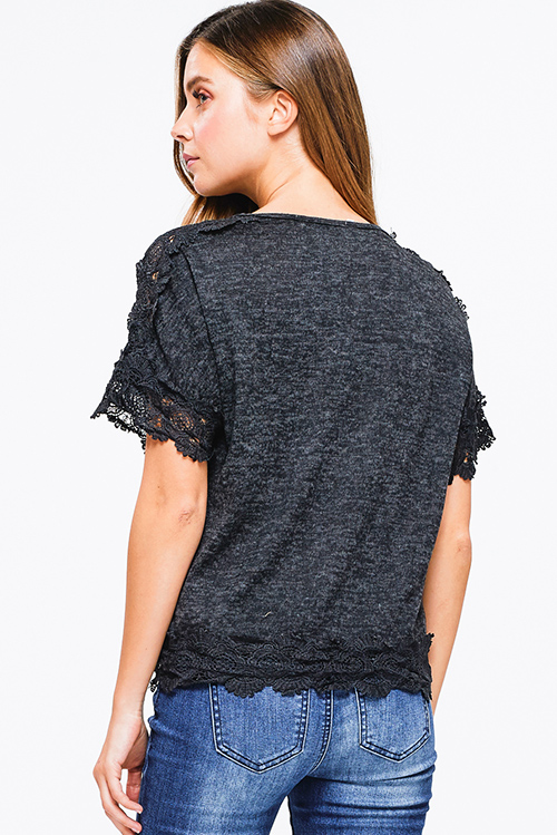 Cute cheap Black charcoal grey short sleeve scallop crochet lace trim tassel tie front boho top