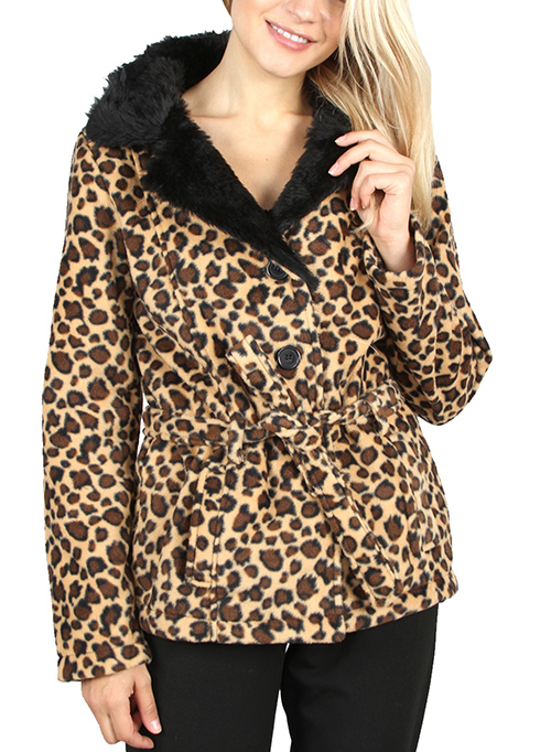 Cute cheap BLACK CHEETAH BELTED COAT