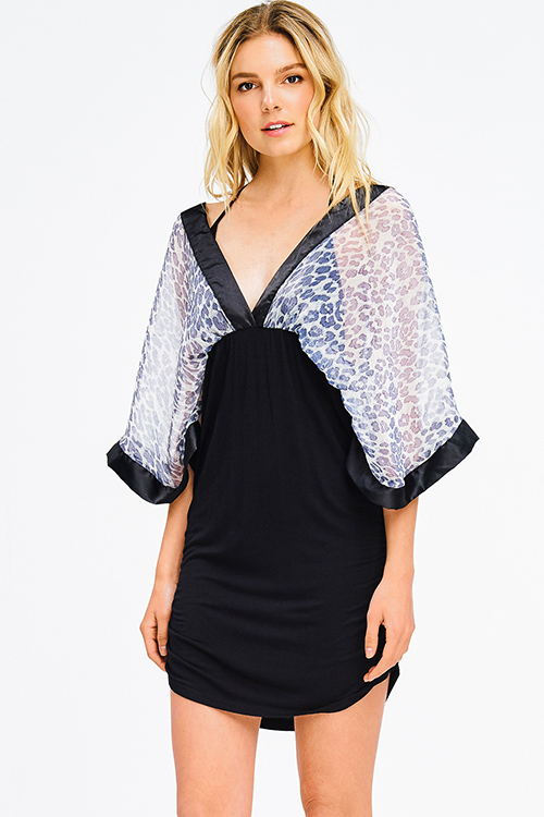 c4eb5252ab4 Cute cheap black cheetah print sheer chiffon halter dolman kimono sleeve  ruched club mini dress