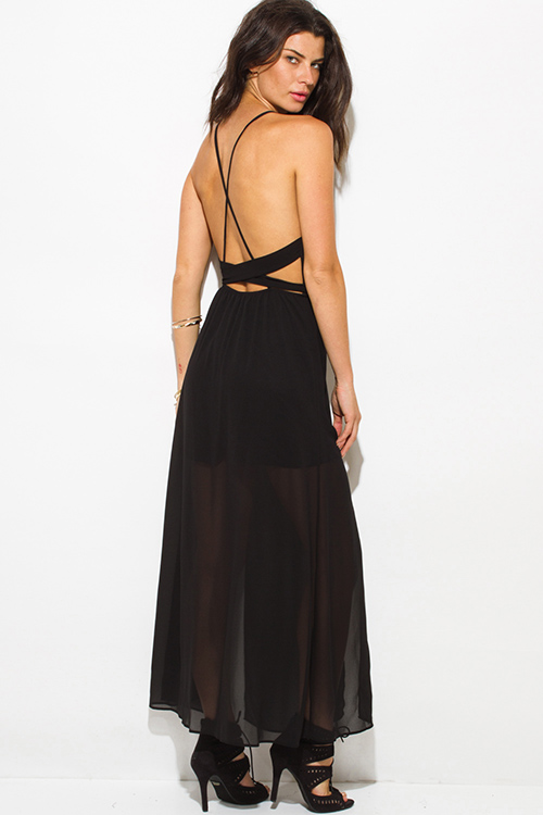 Cute cheap black chiffon deep v neck double high slit criss cross backless evening party maxi dress