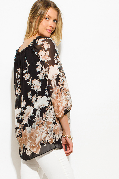 Cute cheap black chiffon floral print quarter blouson sleeve boho blouse tunic top