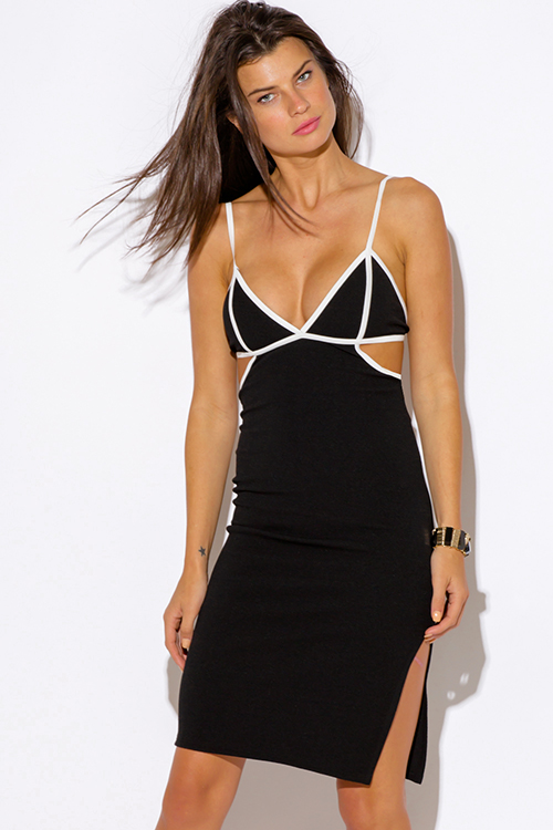 Cute cheap black color block bustier cut out open caged backless slit bodycon fitted clubbing midi dress