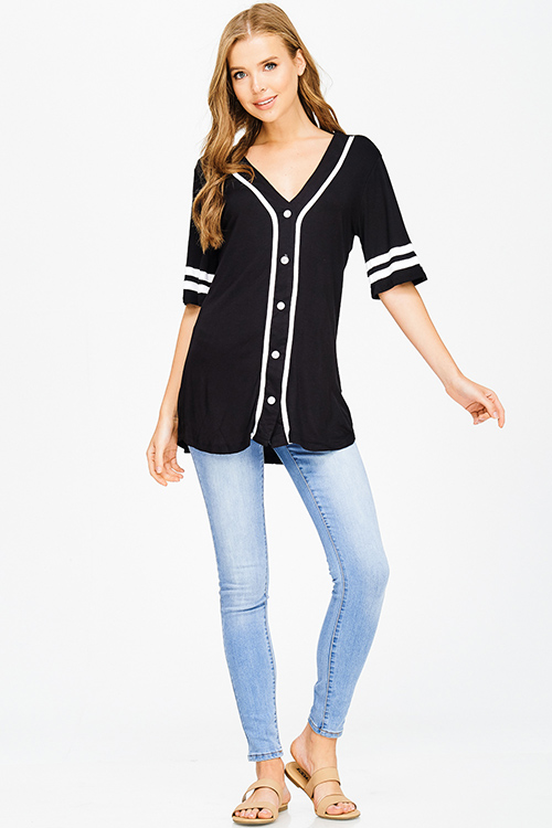 Cute cheap black color block rayon jersey v neck button up tunic baseball jersey top