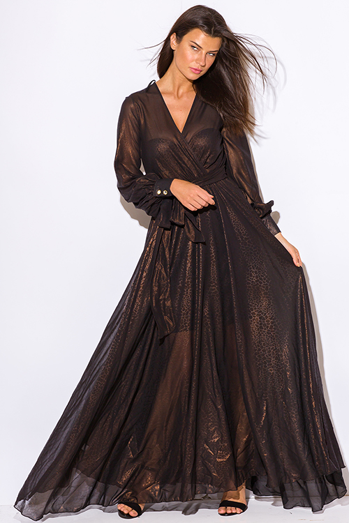 Cute cheap black copper gold metallic chiffon blouson long sleeve formal evening party maxi dress