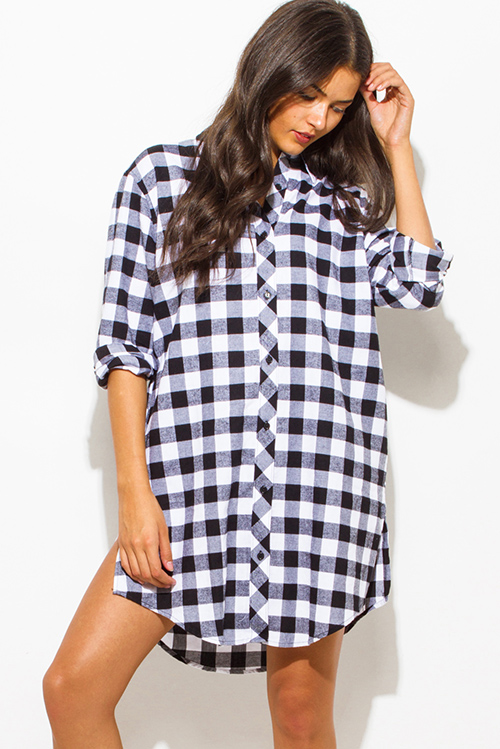 2151487e Cute cheap black cotton button up long sleeve checker plaid flannel tunic  blouse top mini dress