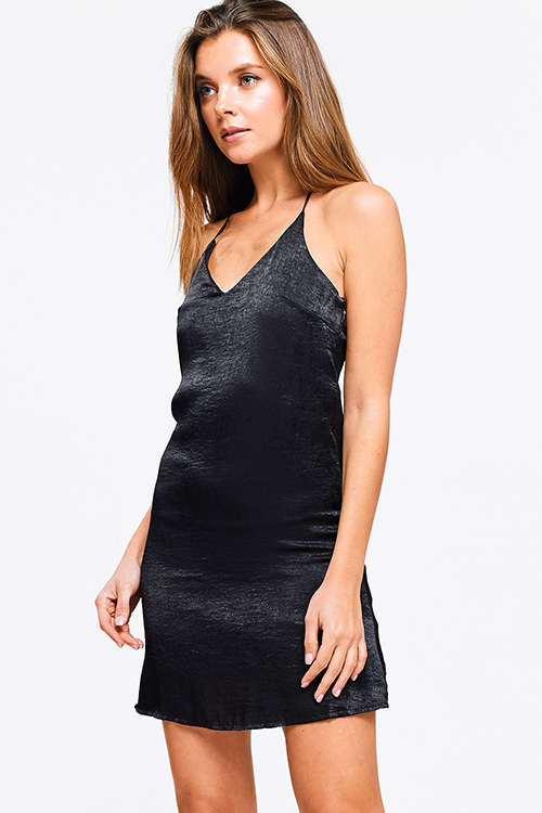 Cute cheap Black crinkle satin v neck sleeveless halter backless club cami dress