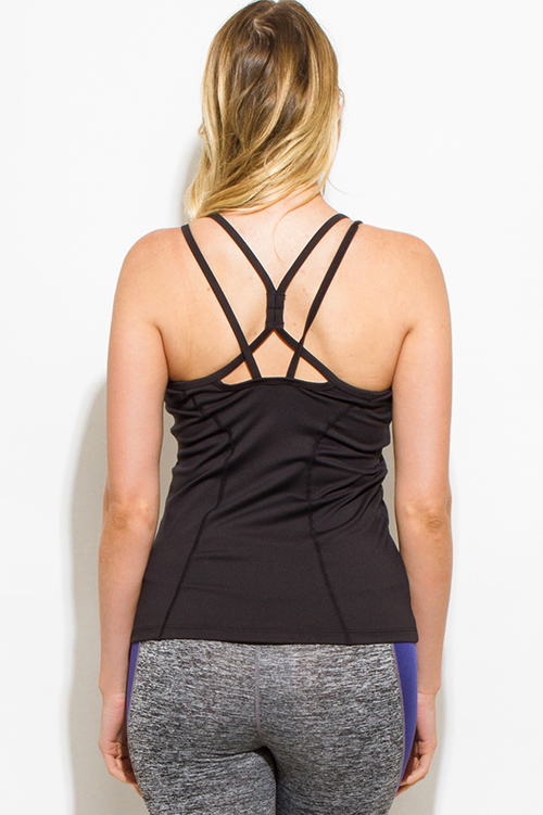 Cute cheap black criss cross back paneled fitted fitness active wear tank top