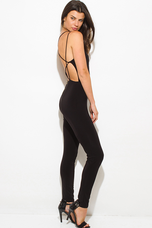 Cute cheap black criss cross caged cut out front bodycon fitted criss cross caged backless clubbing catsuit jumpsuit